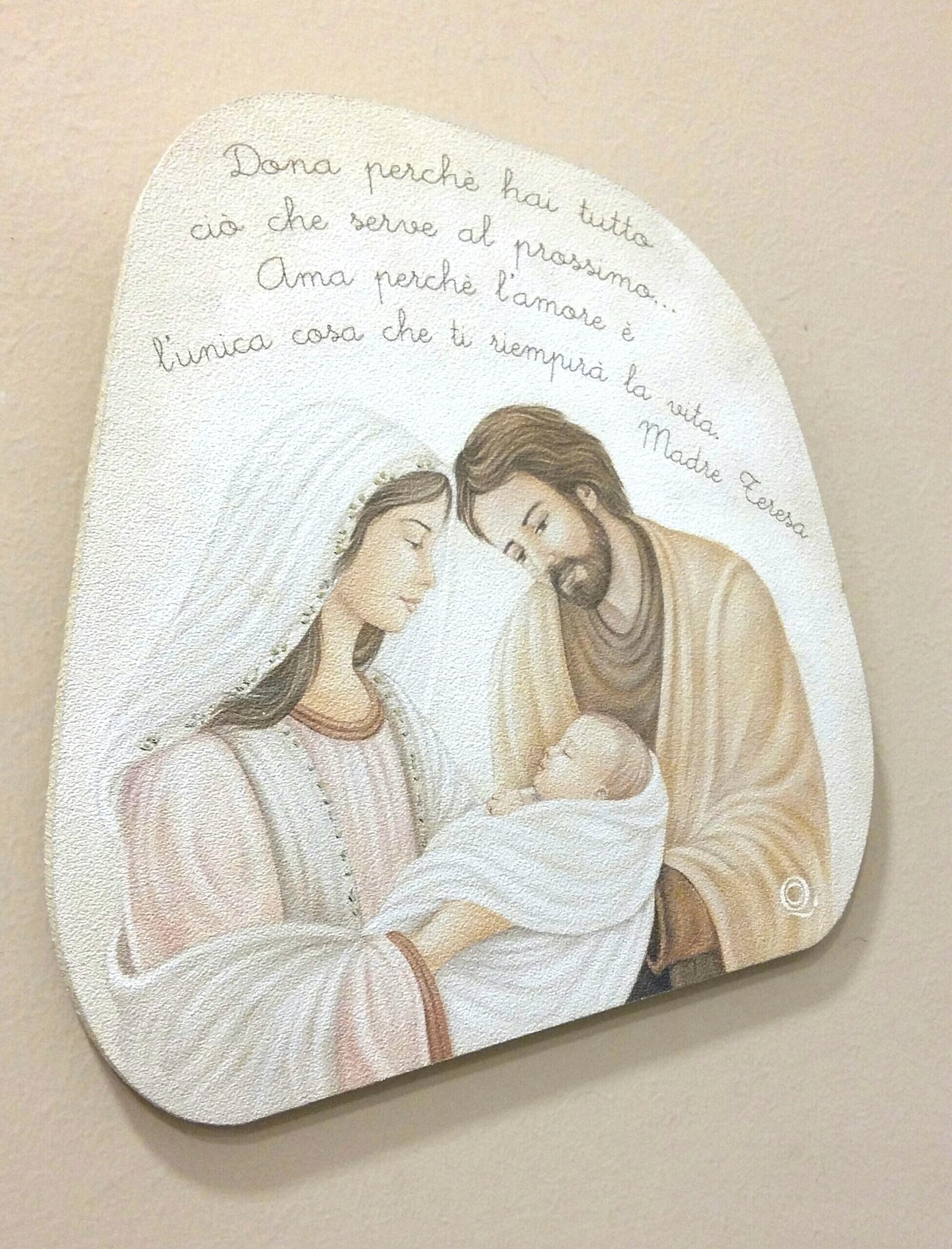 Quadro In Legno Sagomato Raffigurante La Sacra Famiglia Con Frase Di