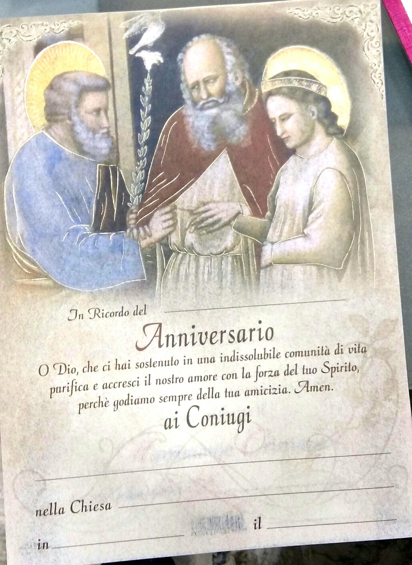 Anniversario Matrimonio Religioso.Pergamena Ricordo Anniversario Di Nozze Oasi Della Pace