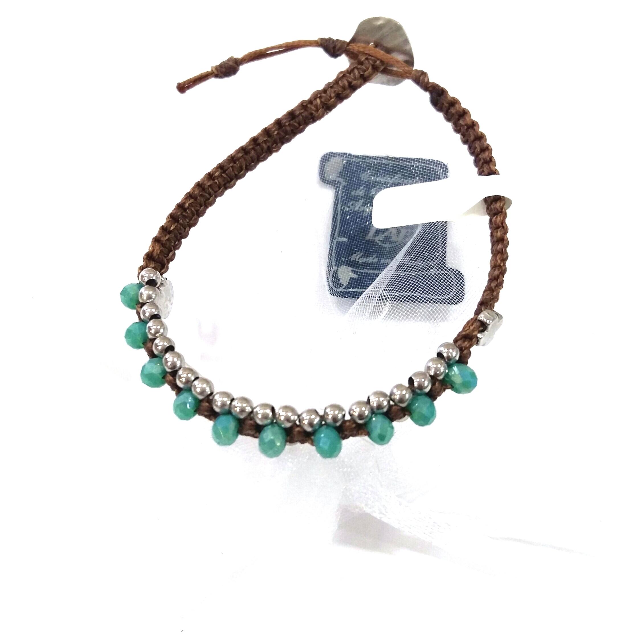 nuovo arrivo 78c74 819fa Bracciale decina in corda con grani in cristallo verde tiffany e argento,  medaglia miracolosa e argento